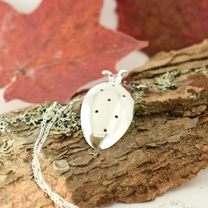 Ladybird-riipus, joka on muotoiltu pienen, hopeisen mokkalusikan pesästä.